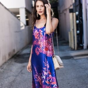 Banana Republic Floral Midi Slip Dress Purple